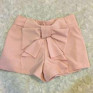 粉紅蝴蝶結雪紡短褲