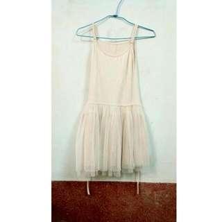 (降價)網紗連身裙(米白)