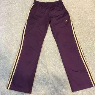 愛迪達 Adidas紫色金邊運動長褲