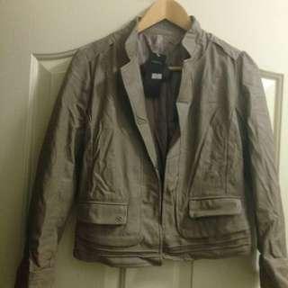 Tan Leather Imitation Leather Jacket