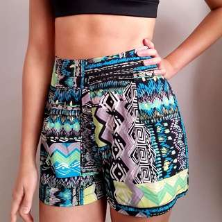 Tribal Pattern High Waist Shorts