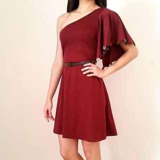 DRESS - One shoulder Burgundy Dress