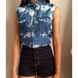 Denim Dyed Sleeveless Shirt