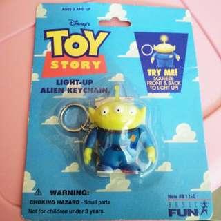 迪士尼 玩具總動員 發光 絕版 三眼怪 吊卡 公仔 吊飾 鑰匙圈