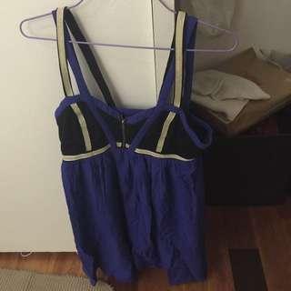 Azuki Black, blue and creamy silver strapped dress- size 10