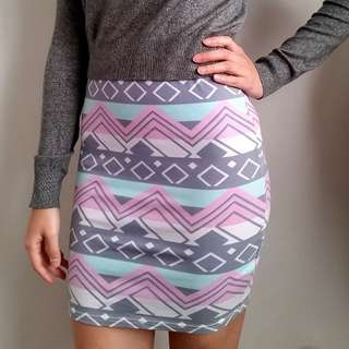Aztec Pink & Grey Pencil Skirt