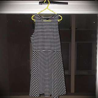 Factorie Strip Black White Dress
