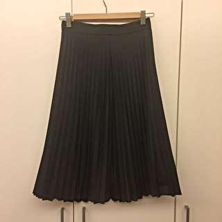 (保留中)黑色百摺中長裙
