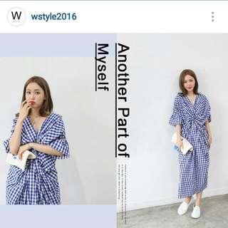 (保留)【全新】Wstyle_藍格紋扭結長洋裝