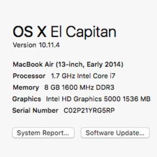 Max Spec Macbook Air 2014 13.3""