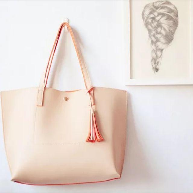 現貨 4色韓國大容量百搭超好背流蘇2way托特包夏天必備自留 送小包