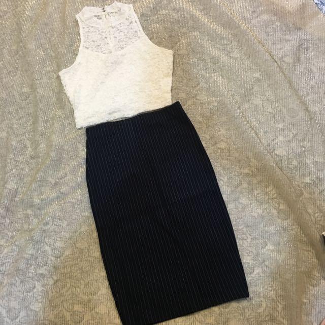 深藍條紋緊身及膝裙