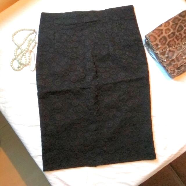 Repriced!! Black Lace Pencil Skirt