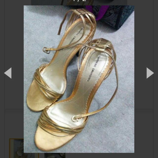 "Brand New Chinese Laundry 4"" Gold High Heels Size 7.5"