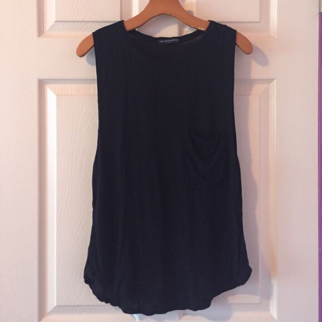 Brandy Melville Black Muscle Tee with Front Pocket