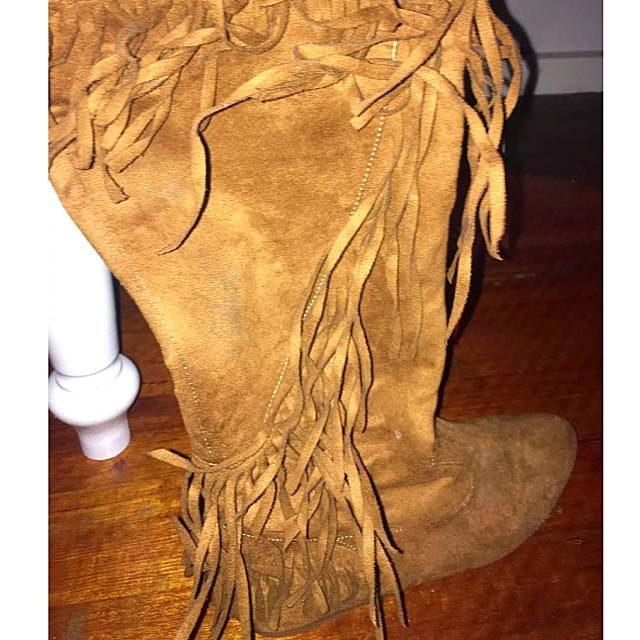 Faux Suede  Knee High Boot Trimmed Edge
