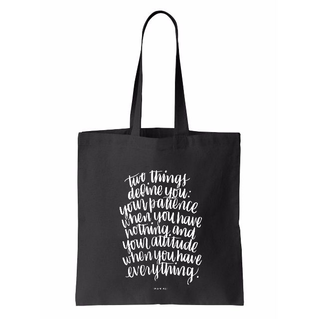 Brush Lettering Tote Bag (Patience)