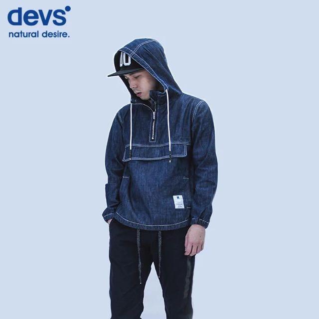 潮牌DEVS 藍色 牛仔 連帽 街頭西海岸小叮噹口袋牛仔襯衫