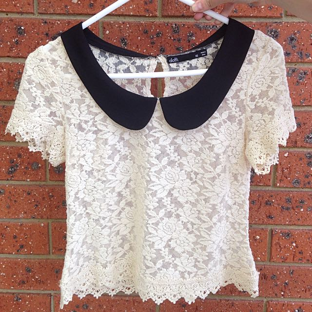 Dotti Lace Collared Crop Top