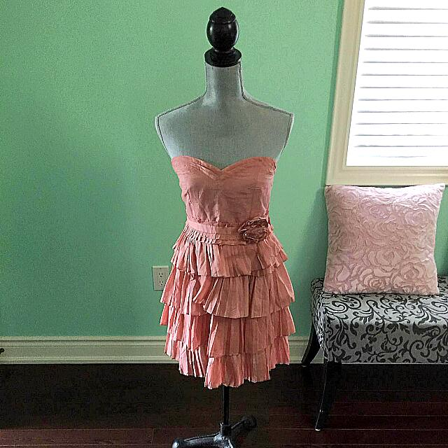 Dusty Rose Pleated Cocktail Dress