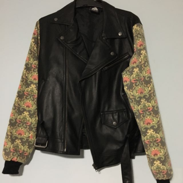 Floral Sleeve Leather Jacket