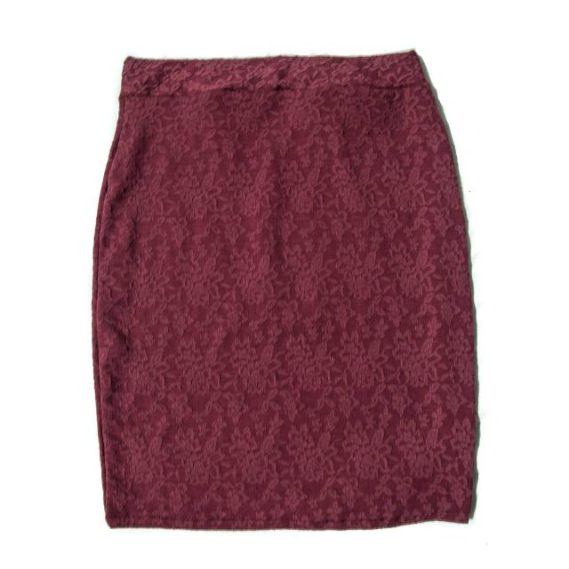 KNEE HIGH PENCIL SKIRT in MAROON LACE DETAIL and FUSCHIA