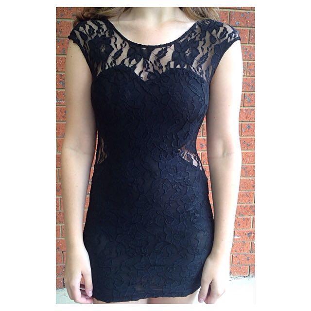 Living Doll Black Lace Cutout Dress