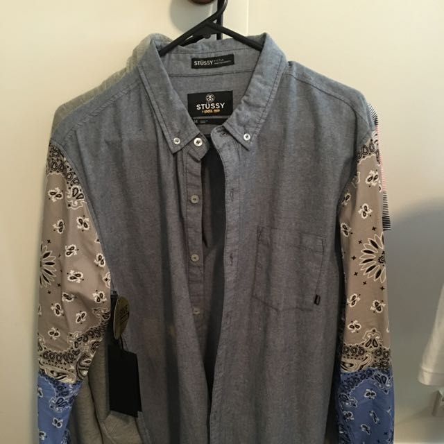 New With Tags Men's Stussy Chambray Shirt With Paisley Sleeves
