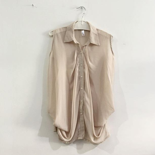3for100k / Nude Drapery Sleeveless Shirt