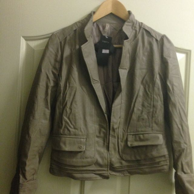Tan Leather Imitation Leather Jacket