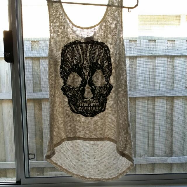 White And Black Lace Skull Top