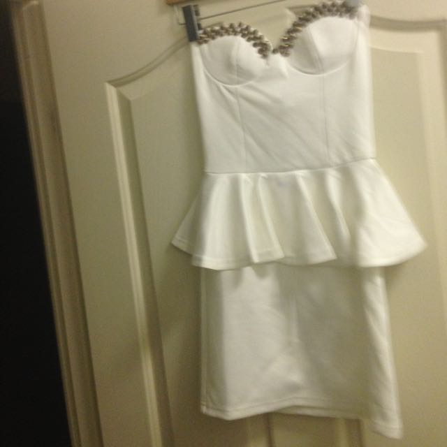White Pendulum Dress With Gold Studs