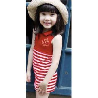 [Size 120 / 3 years old] Red & White Striped Dress
