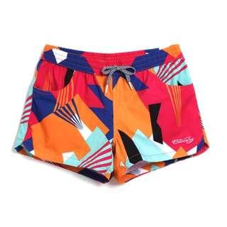 歐美色塊幾合短褲沙攤褲海灘褲女