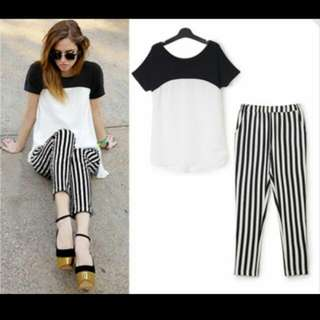 White & Black Chiffon Top & Pants Set