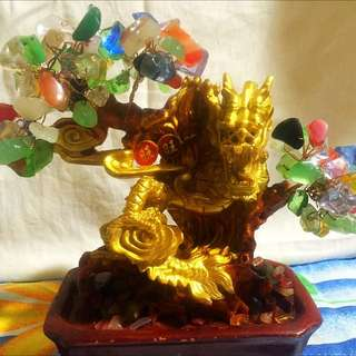 Lucky Dragon Display With Crystals