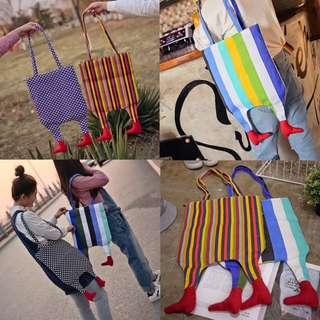 韓國創意 小腳 帆布 單肩包 個性 非主流 原宿 獨特