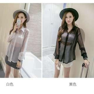 初秋新款韓版寬鬆純色網紗性感透視上衣 襯衣 T58517#