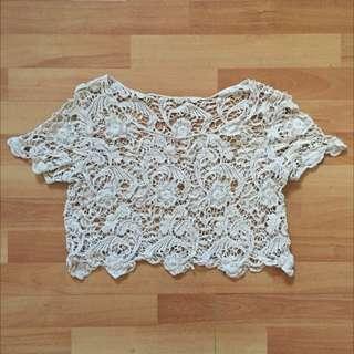 Crochet Beige Cropped Top