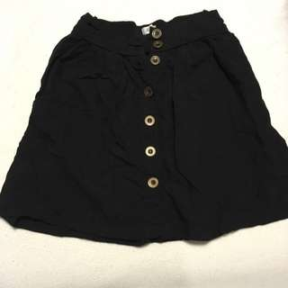 Button Down Black Skirt