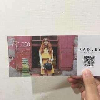(抵用券一張)RADLEY$1000抵用券