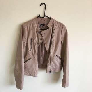 Dotti Size 10 Dusty Rose Nude Color Fake Leather Jacket