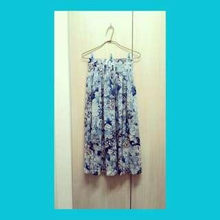 絕美日本古著大傘擺白雕藍花裙