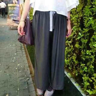 韓國連線條紋寬褲
