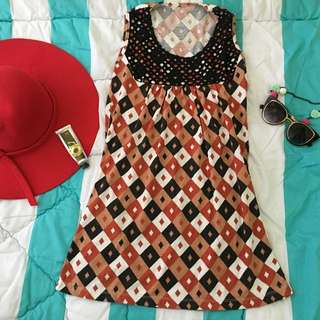 Black-orange Sleeveless Top