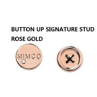 BRAND NEW MIMCO ROSE GOLD BUTTON UP SIGNATURE EARRINGS WITH TAGS