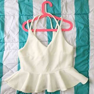 White Crossover Peplum Crop