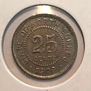 North Borneo Coin 25 Cents 1929