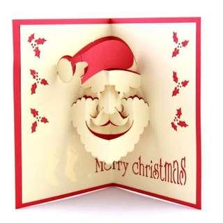 聖誕節卡片 創意立體卡片 聖誕老公公 交換禮物 聖誕禮物 手作創意 生日卡片 賀卡