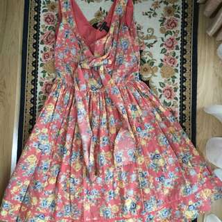 Mango sleeveless dress in vintage floral pattern (M)